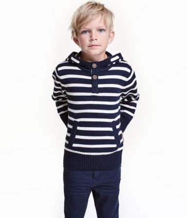 Dark blue/striped. Knit hooded sweater in soft cotton with a button placket and kangaroo pocket at front.