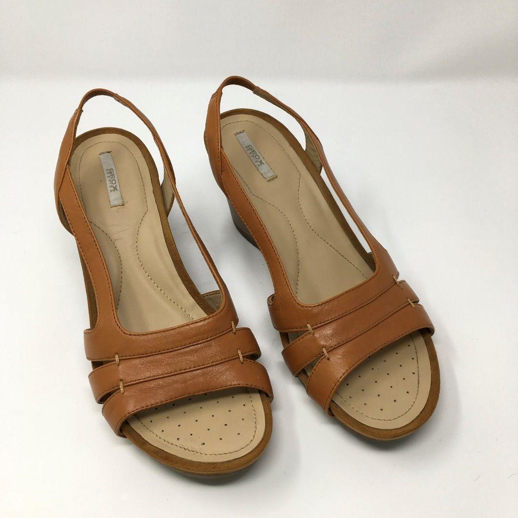 GEOX RESPIRA Brown Zip Up Wedge Sandals