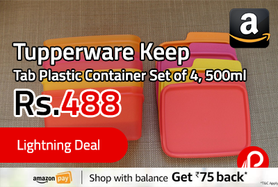Tupperware Keep Tab Plastic Container Set of 4, 500ml at