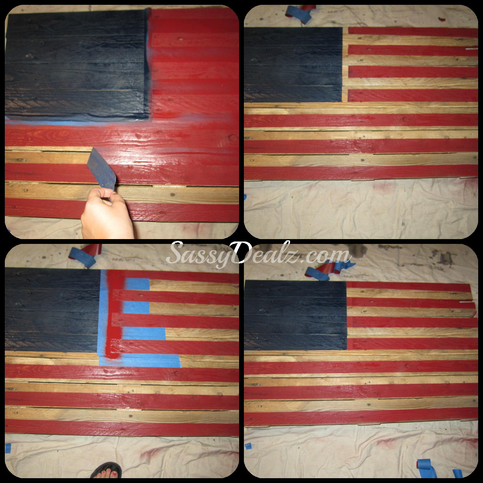 Peeling Tape American Flag Wood Pallet Cool