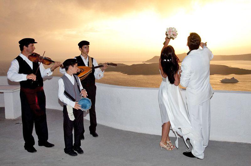 Santorini Sunset Wedding With Traditional Music