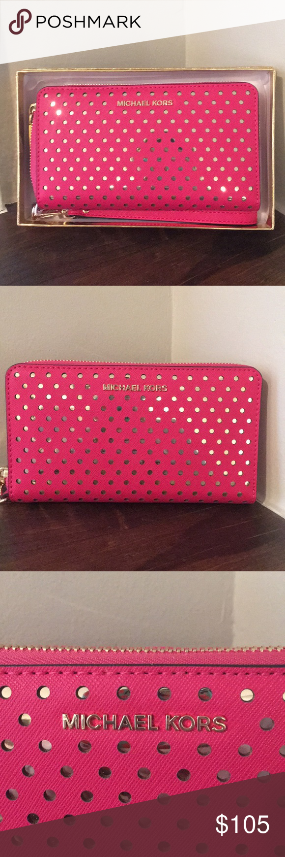 2307d8446358 Michael Kors ultra pink phone case wristlet NWT New in gift box with tags  attached!