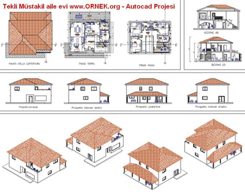 Tekli m stakil aile evi suburgatory autocad ve izim for Progetto casa autocad