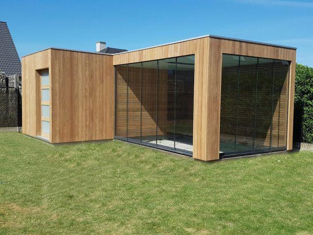 Poolhouse en bois exotique (Afrormosia) avec vitrage Sun Paradise