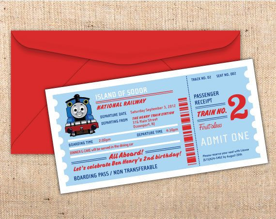 Thomas The Tank Engine Train Ticket Party Invitation by mjcorder