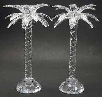 These crystal palm tree candlesticks are a part of the Shannon Crystal  Collection by Godinger.