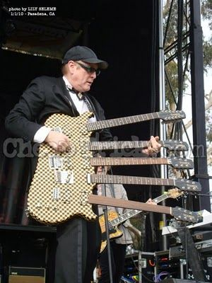 Rick Nielson of Cheap Trick and his five-neck Hamer guitar.