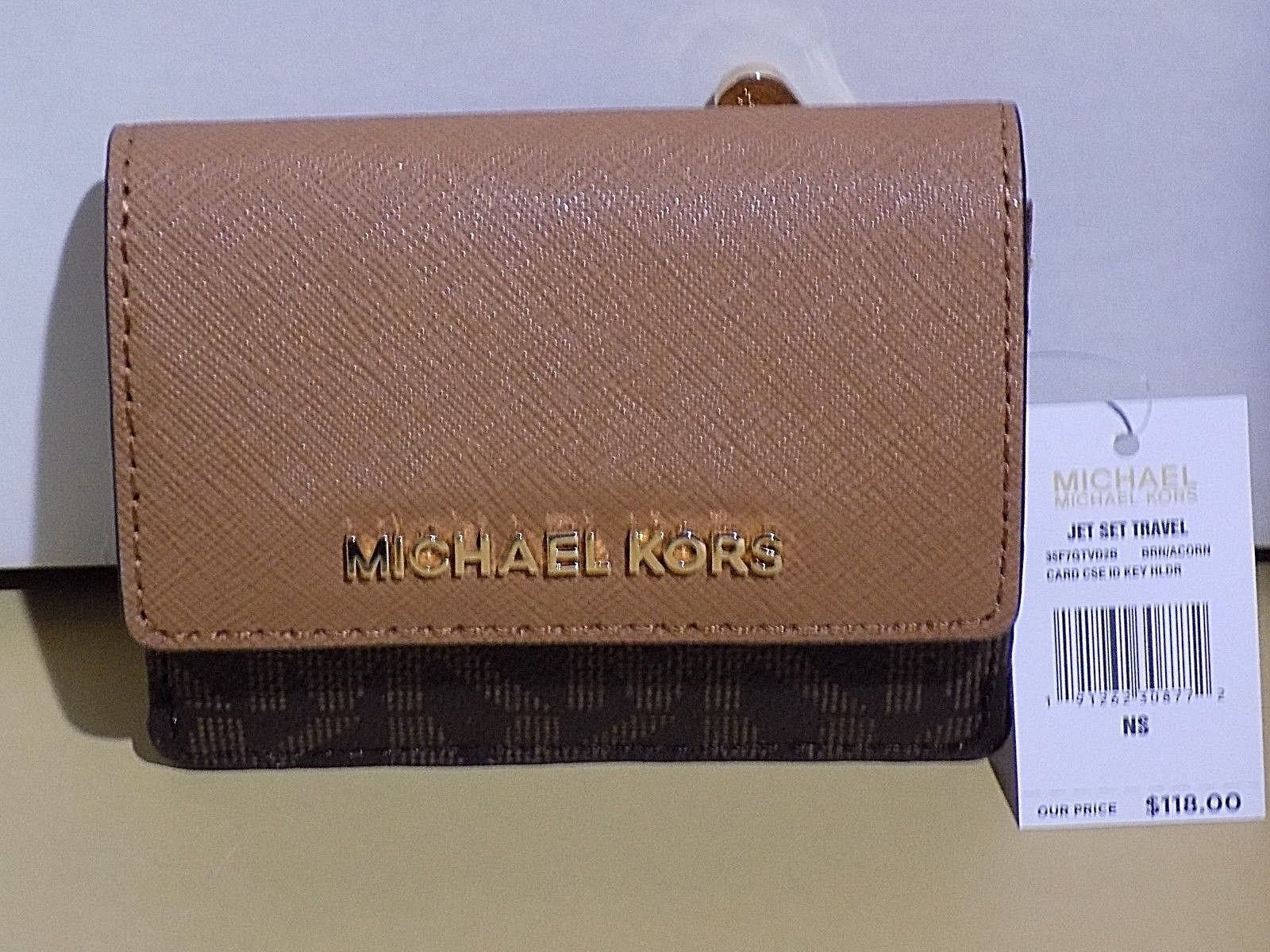 1dfd727ee31966 Authentic MICHAEL KORS MK Brown Signature Card case keychain Photo ID  wallet NWT