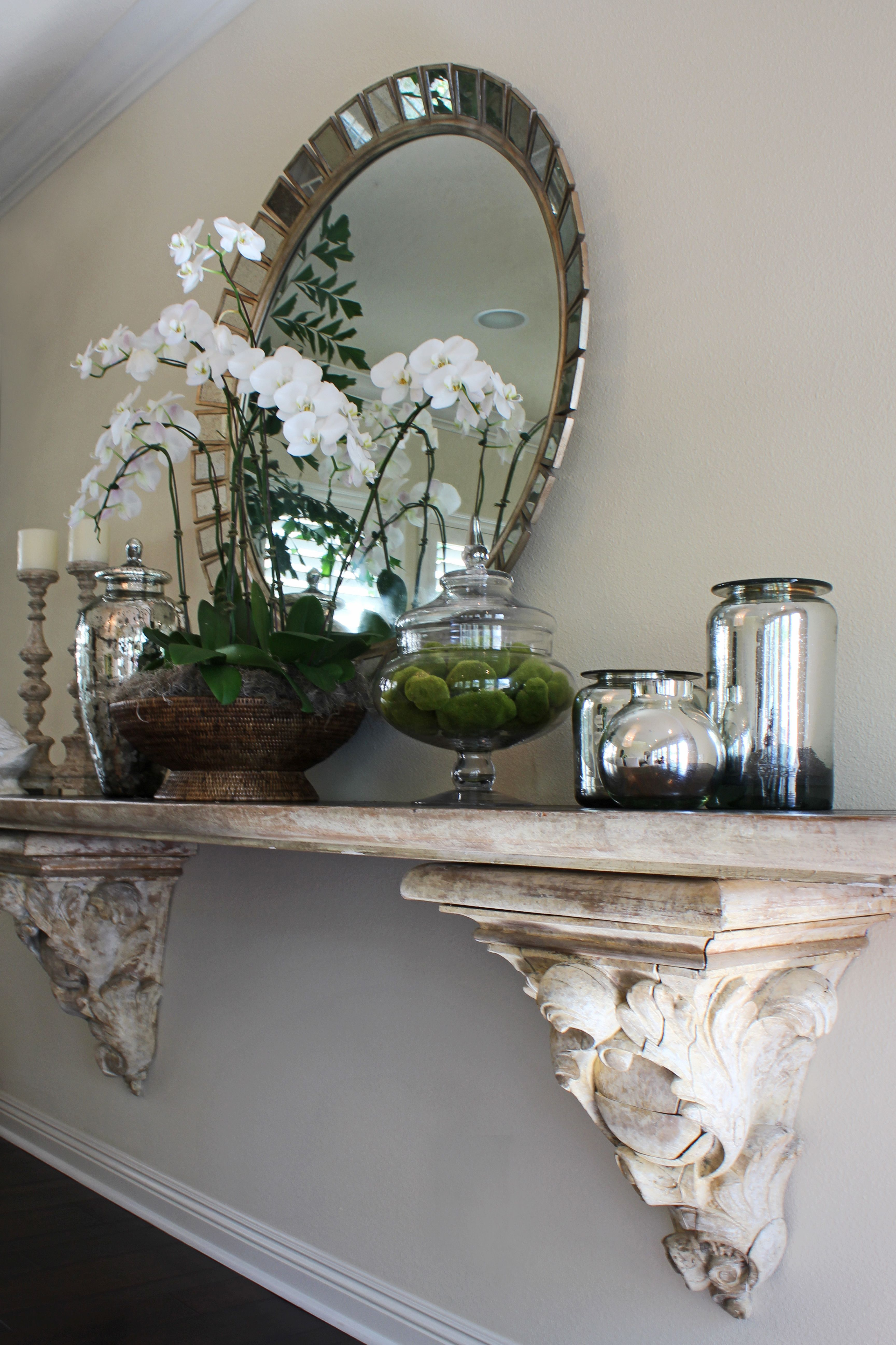 Vignette Stunning Corbels Mirror Orchid Accessorize Your Home