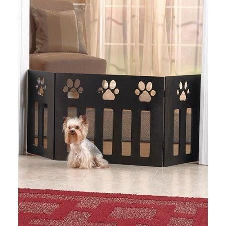 Pet Store Wooden Paw Decor Pet Gate (Black) - Walmart.com   Our Casa ...