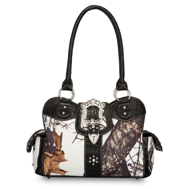 Mossy Oak Snow Camo Handbag With Black Trim