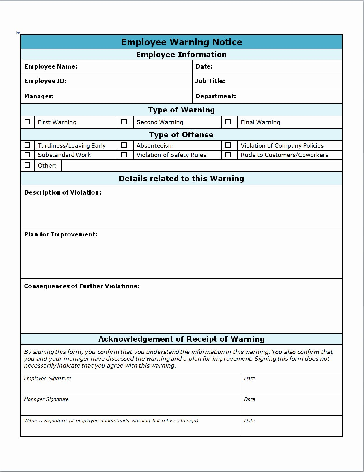 30 Employee Write Up Forms Template In