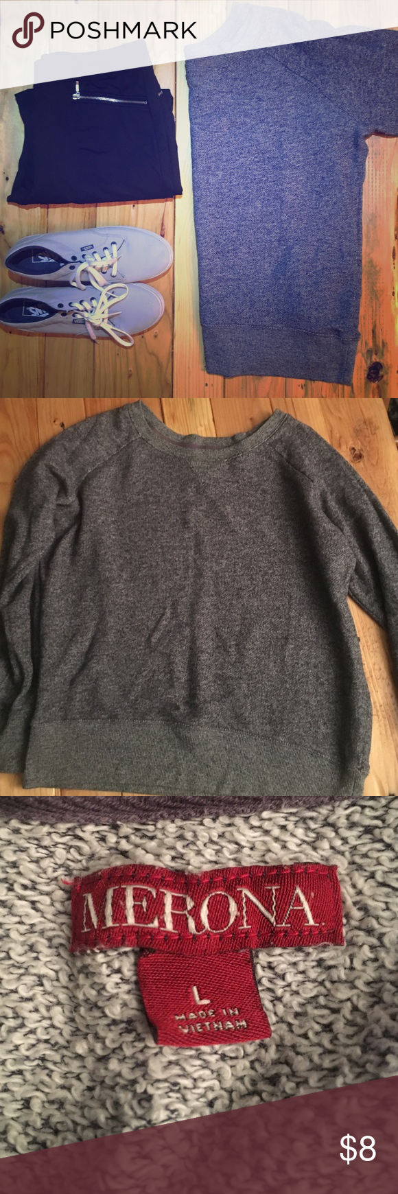 Merona pullover Size large, blue gray, Merona pullover. Fits true to size and can be worn as an oversized sweater by smaller sizes. Pair it with leggings & boots. 67% cotton 33% polyester.   📦better discounts with bundles📦 🎀be kind when making offers. Remember posh takes 20% commission on items priced $15 or higher and $2.95 for items priced under that 🎀  🚫PayPal 🚫trades  ❗️items $ 10 & under are firm unless bundled. Merona Sweaters Crew & Scoop Necks