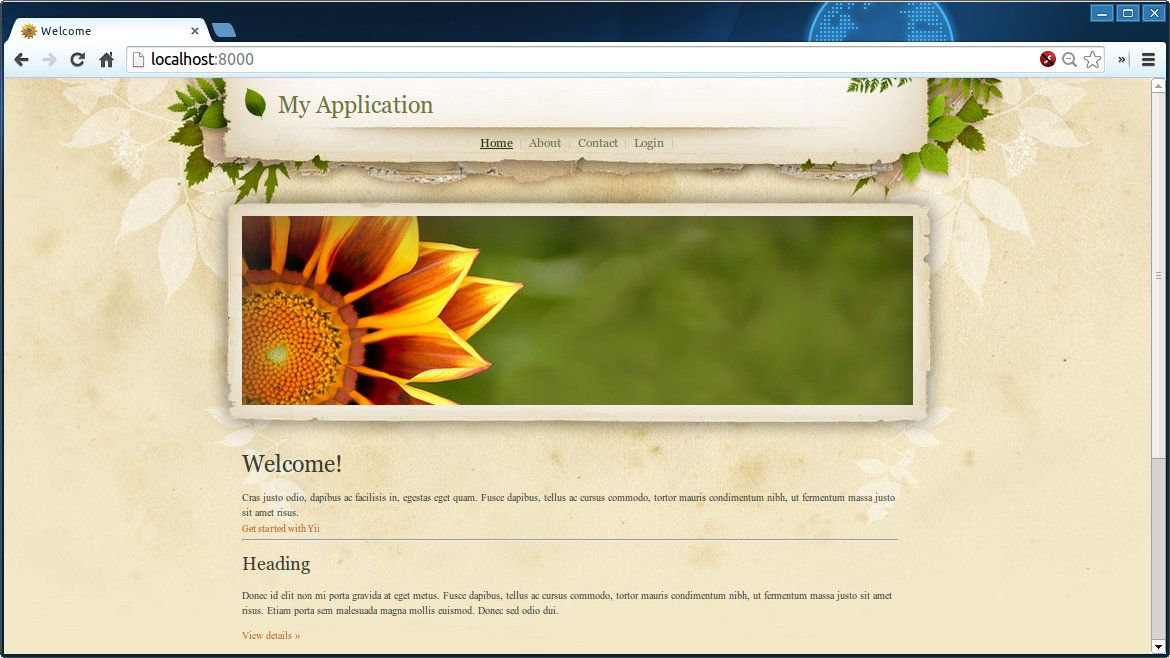 Yii2 Theme Factory - Sunflower Butterfly   Yii/Yii2   Butterfly