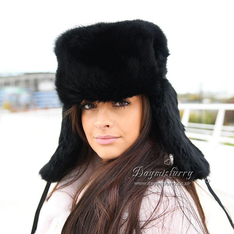 Black Rabbit Fur Russian Ushanka Hat £25.00  ootd  fur  hat  winterhat   rabbitfurhat  ushankahat  russian  handmade  womenswear  womenfashion   outfit ... 9b0476880d4