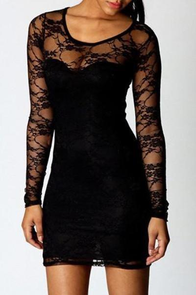 Black Lace Short Bodycon Dresses