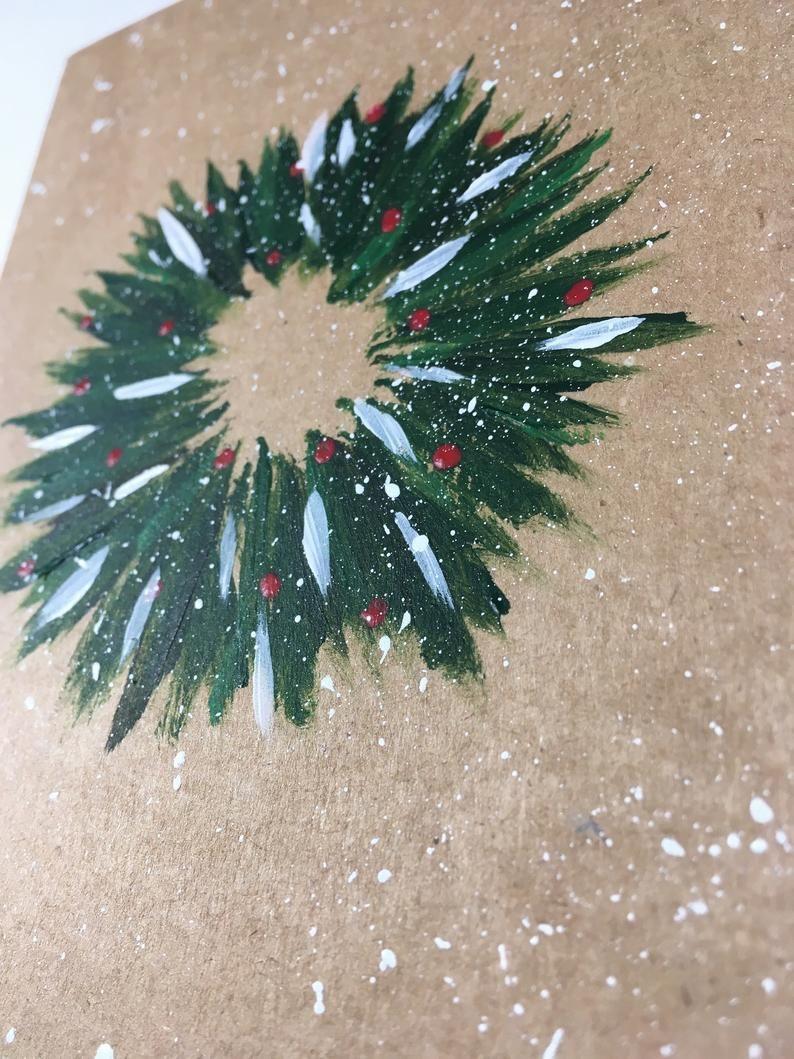 Christmas wreath hand-painted card