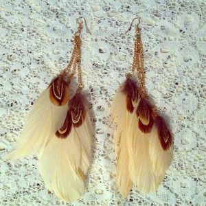 Jewelry - Rose Gold Soft Pink & Peasant Feather Earrings
