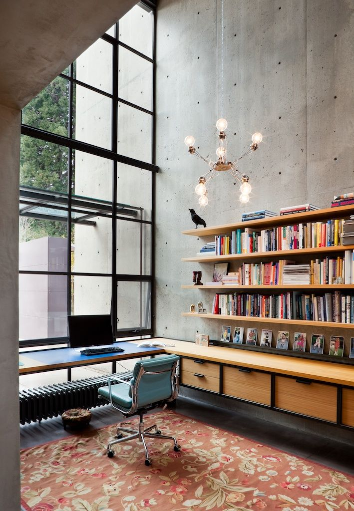 rho architects, home office, high ceilings, steel windows, tall room ...