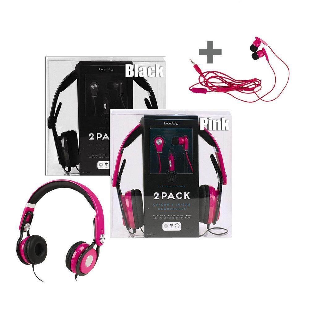 Buddy 2 pck dj design light headphone and earphone bundle