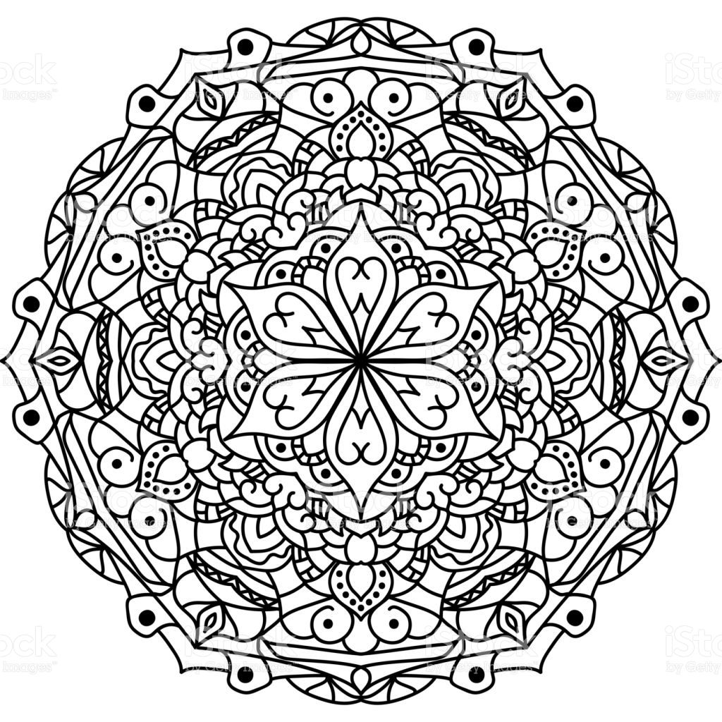 Outline Mandala for coloring book royalty-free stock vector art