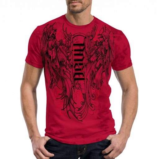 Red Chapter Angel/Devil Tee - 100% AMERICAN MADE 30/Single 100% pre-shrunk cotton tee. Angel/Devil Ambigram hand-drawn by Mark Palmer. The artwork features an angel warrior on one shoulder and a devil warrior on the other fighting over a stone tablet. Red metallic foil accents front and back.