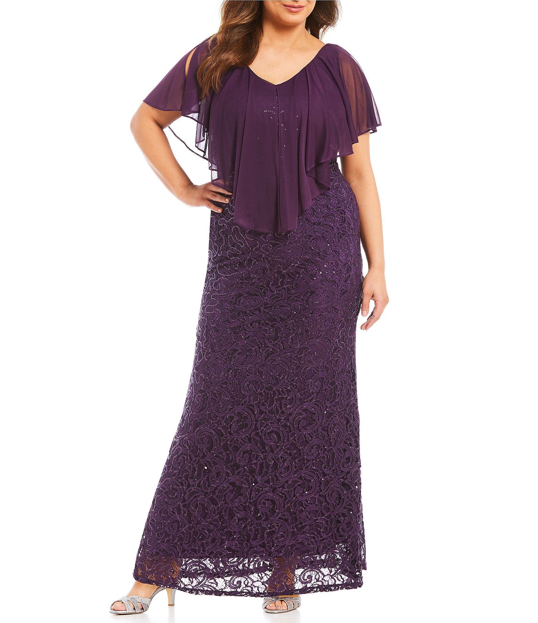 Marina Plus Chiffon Popover Lace Gown in 2019 | mother of ...