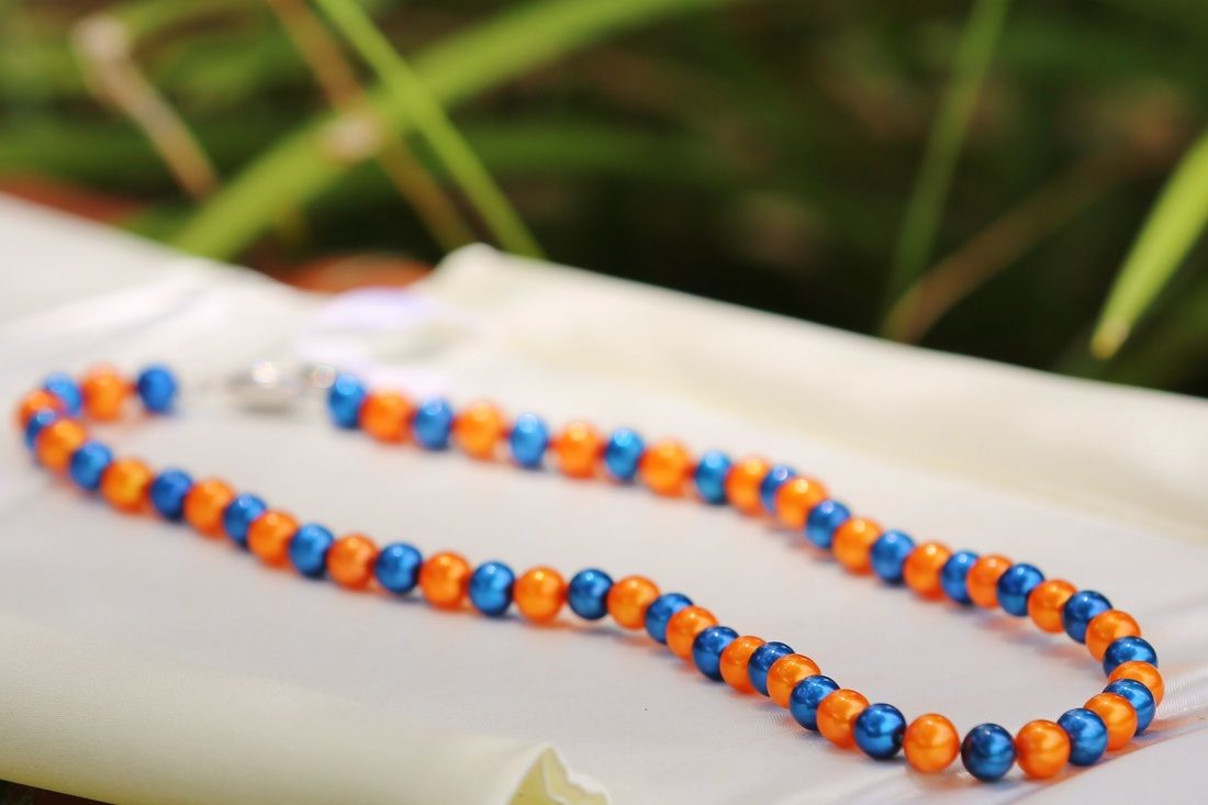Orange and Blue Gator Pearl Necklace