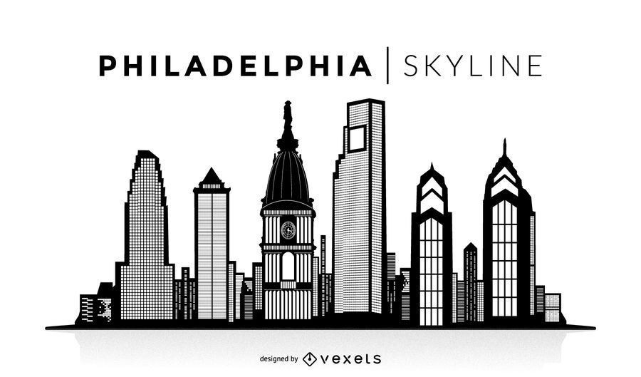 Philadelphia Skyline Silhouette Design You Can See The Most Important Buildings It 39 S Isolated And Philadelphia Skyline Skyline Silhouette Skyline Design