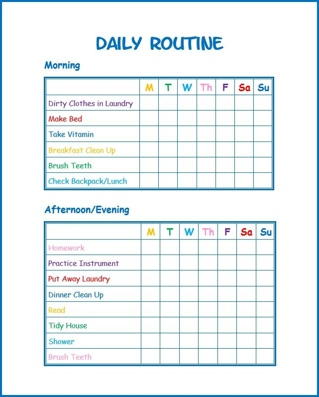 daily schedule template for kids