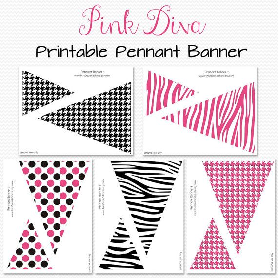 Pink Diva Pennant Banner Birthday Party Decoration Bridal Shower
