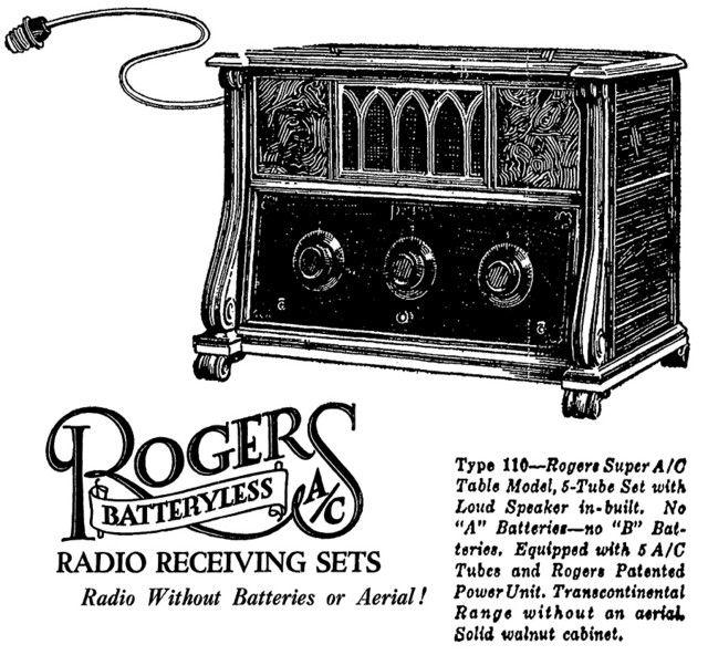 Radio Advertisement: 1925 Rogers type 110, newspaper