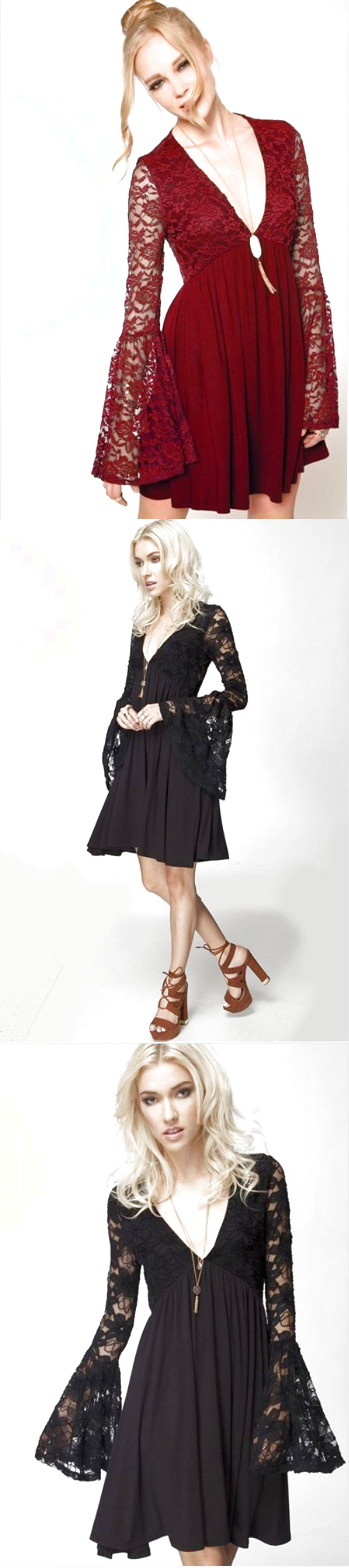 Black lace dress red shoes  Womens New Long Bell Sleeve Solid Black Lace Swing Dress Tunic Boho