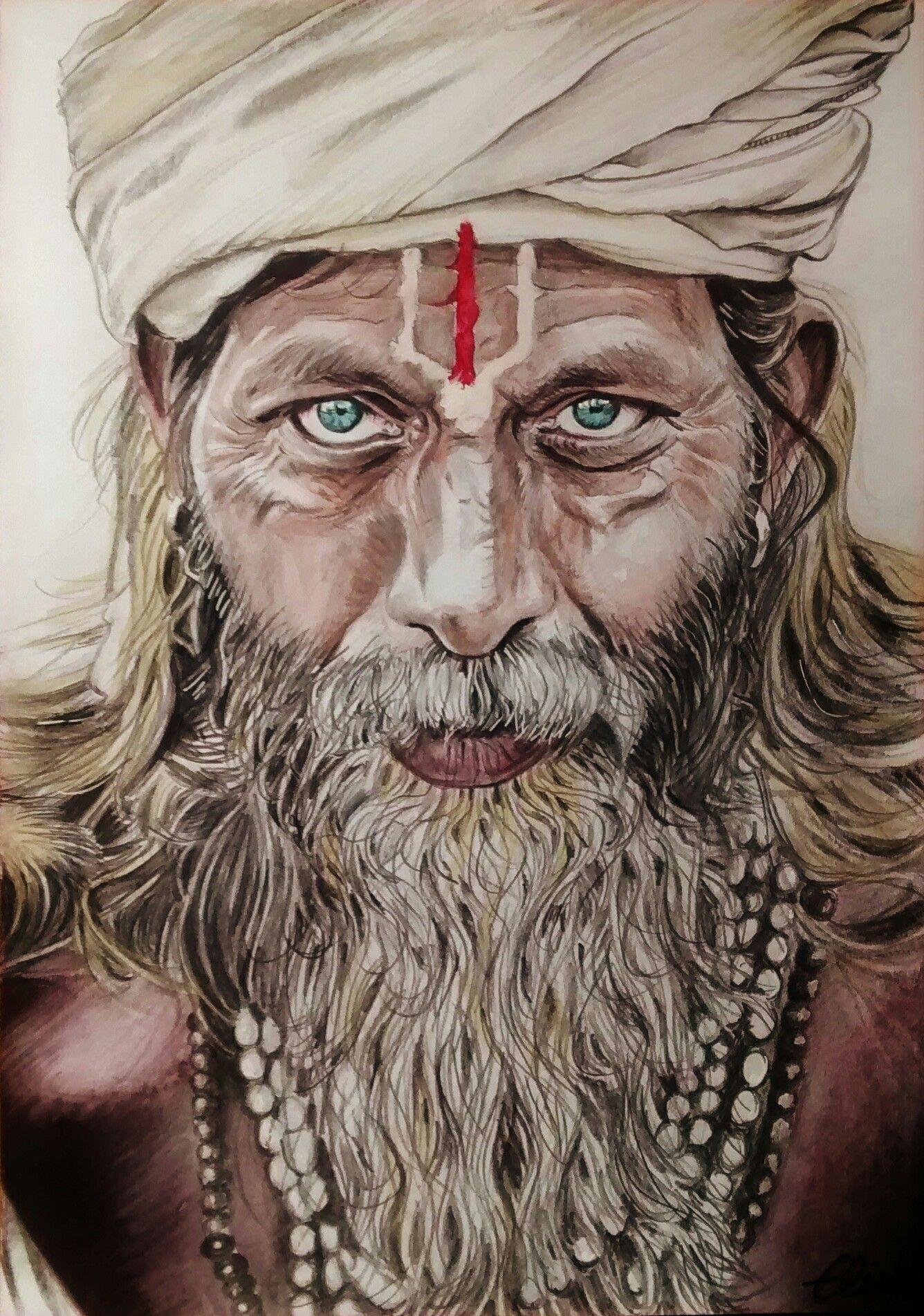 Portrait D Un Indien Sadhu L Inde Sacree En Dessin Portrait