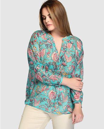 93287c649ca Blusa de mujer talla grande Couchel con estampado y escote de pico ...