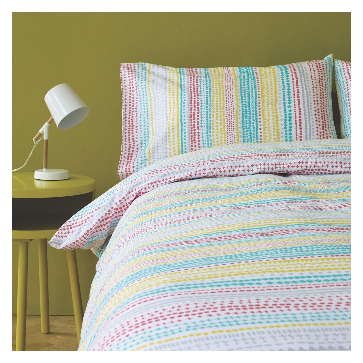 Leyla Multi Coloured Patterned Double Duvet Cover Set Now At Habitat Uk