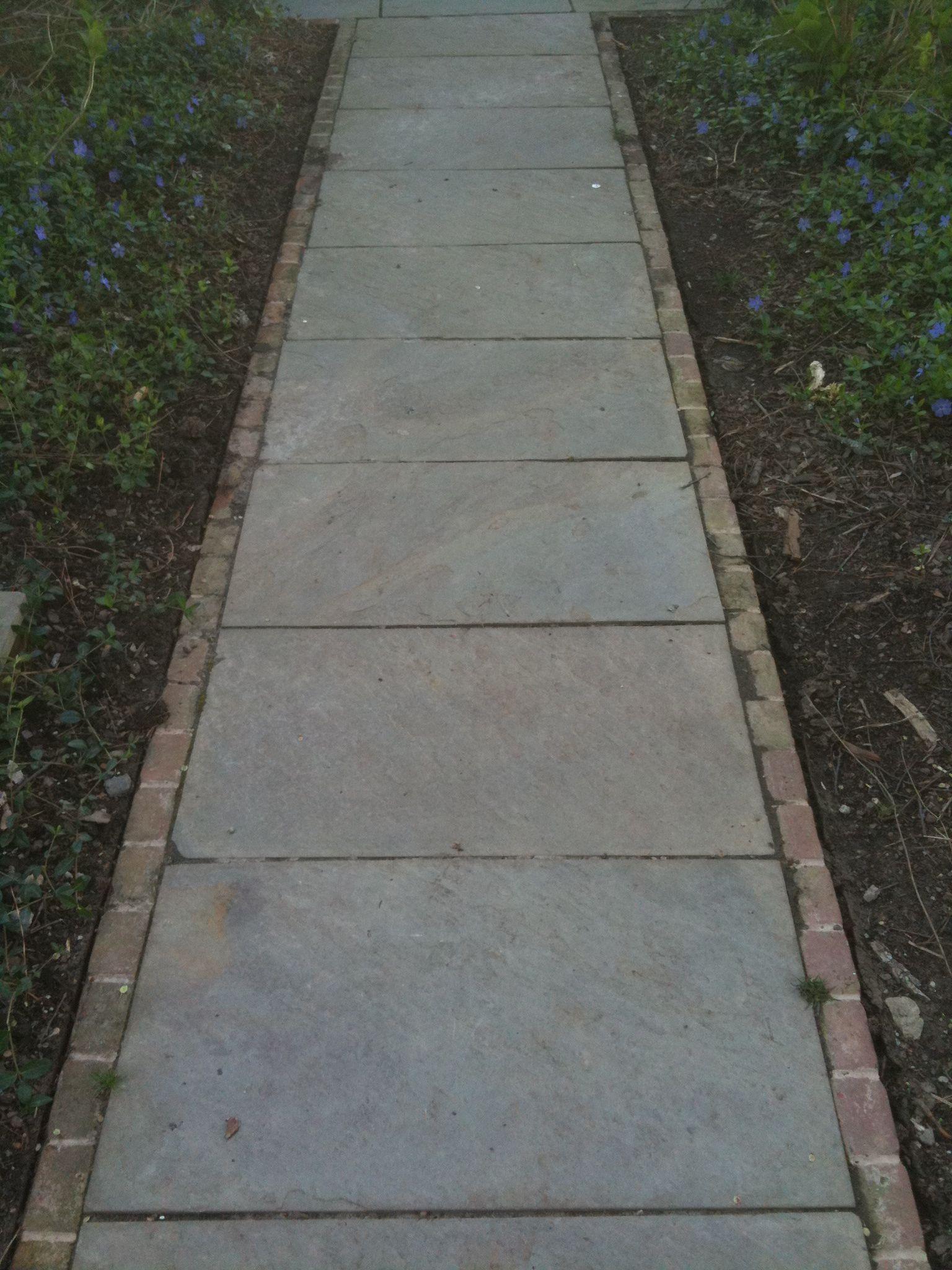 Bluestone With Brick Edge In Sailor Pattern Sidewalk