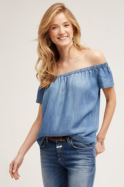 8a4206922e Chambray Off-The-Shoulder Top