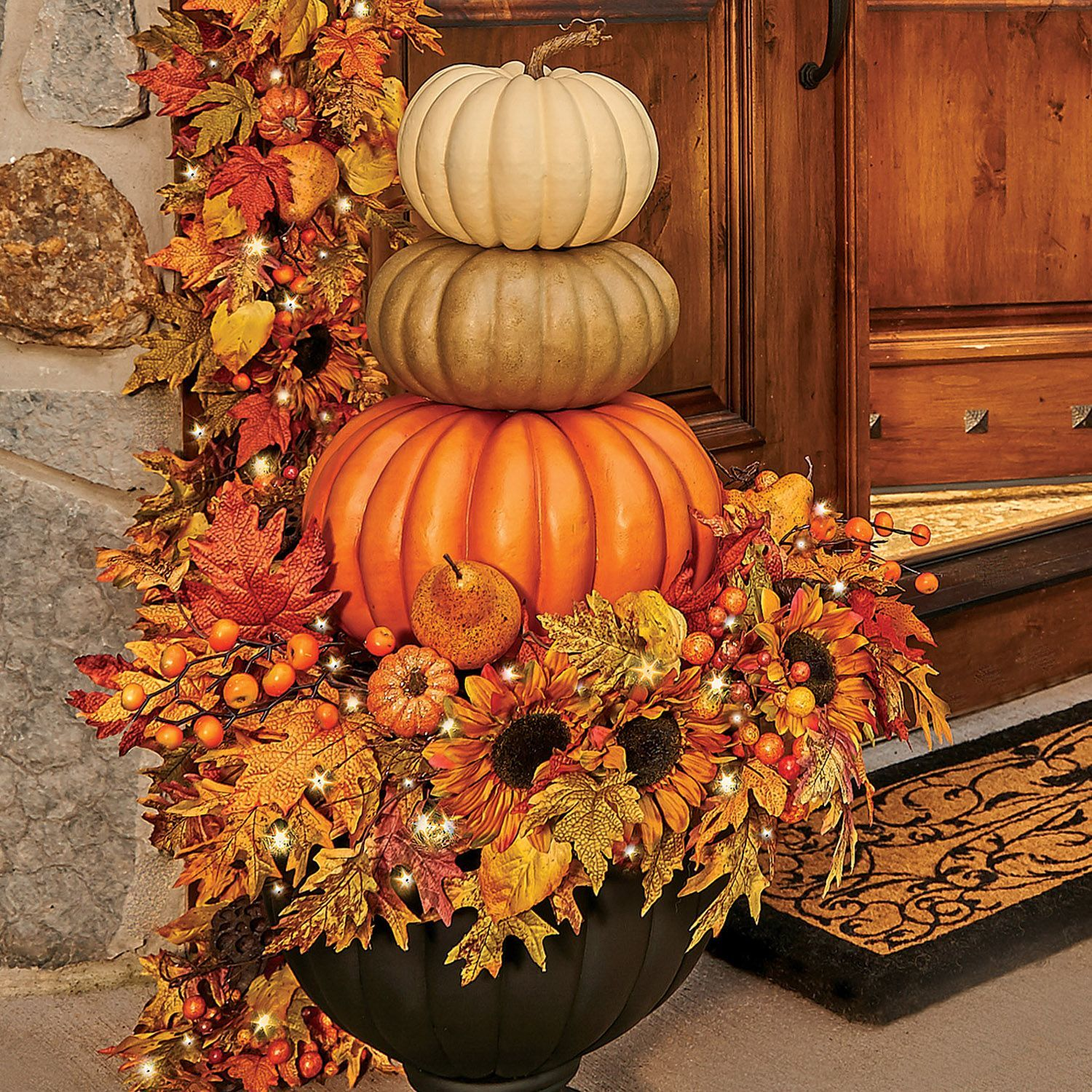 In The Subtle Tones Of The Fall Season These Pumpkin Stacks Can Be Flanked On Your Front Porch In Fall Decorations Porch Fall Outdoor Decor Pumpkin Fall Decor