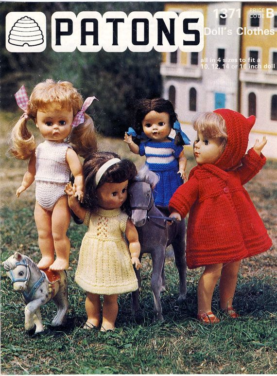 577ffe835c37 ORIGINAL Patons 1371 Knitting Pattern ~ DOLLS CLOTHES for 10