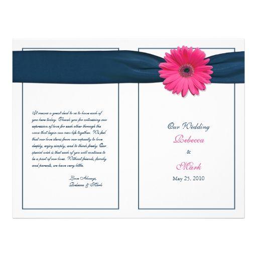 Pink Gerbera Daisy Navy Ribbon Wedding Program