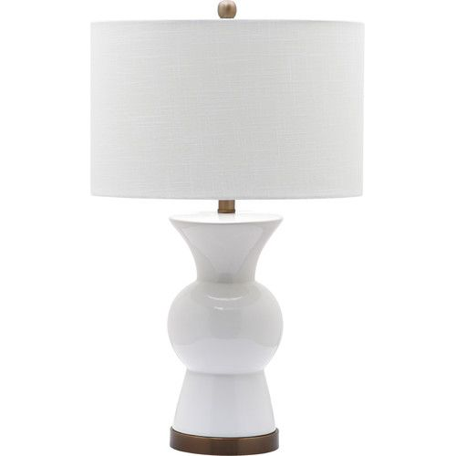 Clean and beautiful this contemporary ceramic table lamp with soft brass finish accents is refined and elegant style at lamps plus