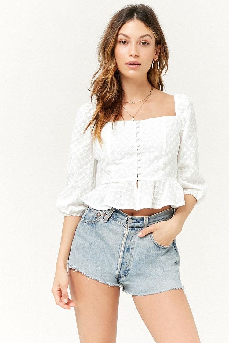 717ede83fde606 Eyelet Square-Neck Top in 2019 | tops | Fashion, Fashion outfits ...