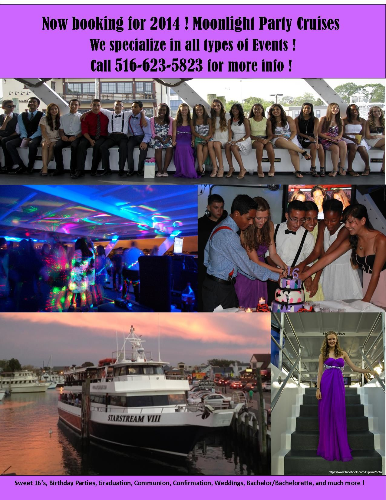 Moonlight Party Cruises Aboard The Captain Lou Fleet Freeport New York Boat LongIsland Sweet Sixteen Venue Sweet16 Birthday Ideas