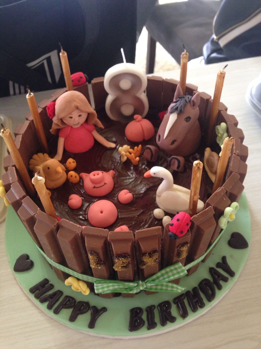 Farm animal mud bath cake | Animal cakes, Mud cake, Cake