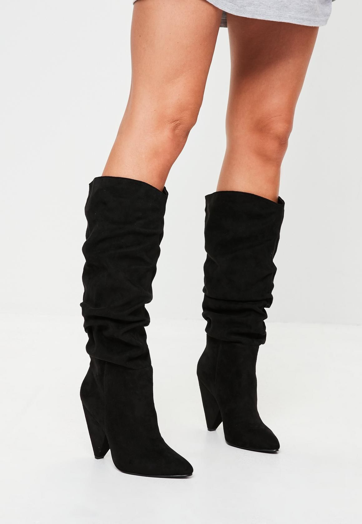 1e7c2b0a0dc5 Missguided - Black Faux Suede Ruched Calf Boots Knee High Boots, Calf Boots,  Shoe