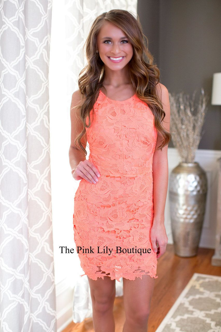 Garden of Roses Neon Coral Dress - The Pink Lily Boutique   Pink ...