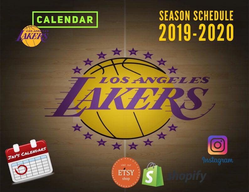 La Lakers 2019 2020 Season Calendar Etsy In 2020 Season Calendar Lakers Etsy Instagram