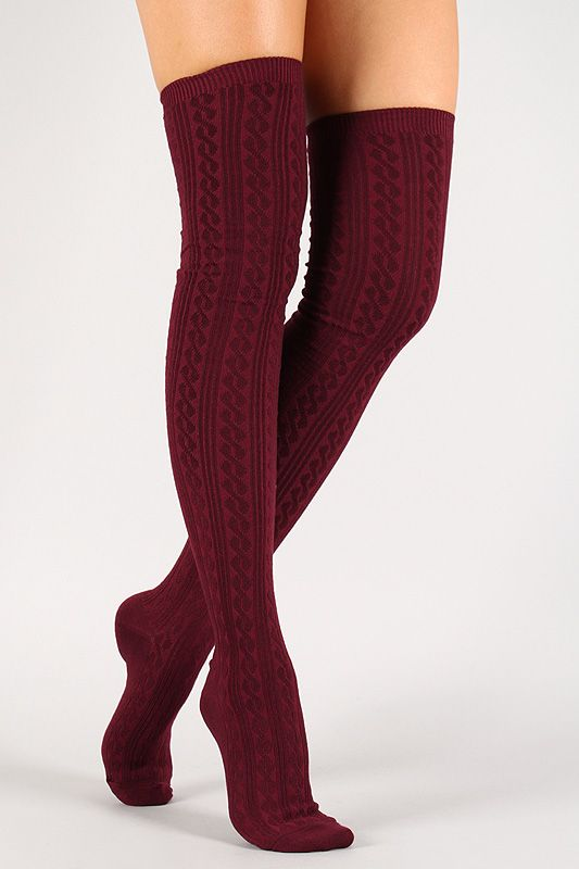 953540974 Solid Twist Thigh High Socks