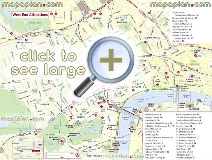 explore famous west end sitess London Top tourist attractions map